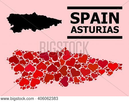 Love Pattern And Solid Map Of Asturias Province On A Pink Background. Collage Map Of Asturias Provin