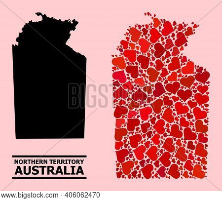 Love Collage And Solid Map Of Australian Northern Territory On A Pink Background. Mosaic Map Of Aust