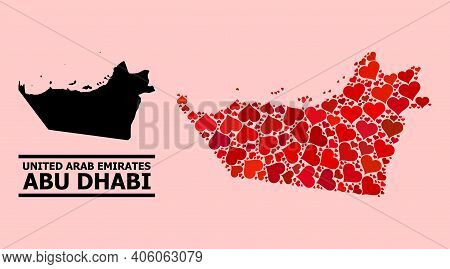 Love Mosaic And Solid Map Of Abu Dhabi Emirate On A Pink Background. Mosaic Map Of Abu Dhabi Emirate
