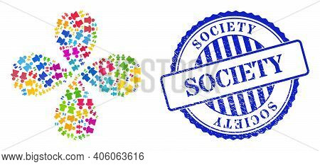 People Couple Multicolored Centrifugal Flower With 4 Petals, And Blue Round Society Rough Rubber Pri