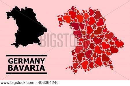 Love Collage And Solid Map Of Bavaria State On A Pink Background. Collage Map Of Bavaria State Compo