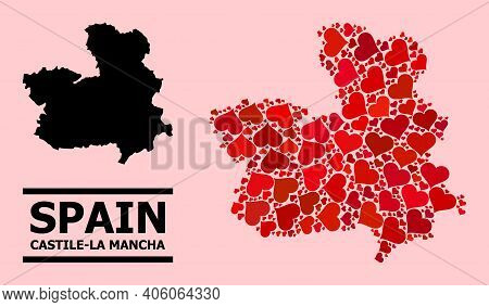 Love Collage And Solid Map Of Castile-la Mancha Province On A Pink Background. Collage Map Of Castil
