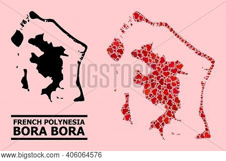Love Mosaic And Solid Map Of Bora-bora On A Pink Background. Mosaic Map Of Bora-bora Is Composed Wit