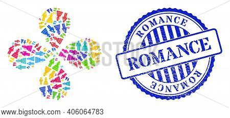 Marriage Persons Bright Rotation Flower With Four Petals, And Blue Round Romance Scratched Stamp Sea