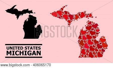 Love Collage And Solid Map Of Michigan State On A Pink Background. Collage Map Of Michigan State For