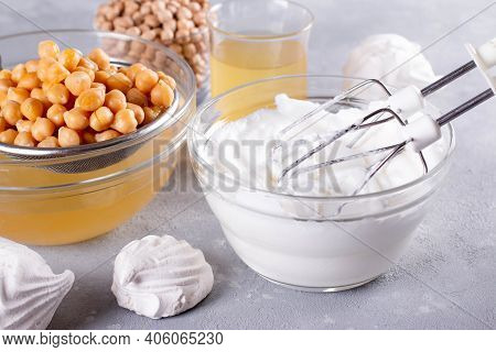 Vegan Meringue, Boiled Chickpea And Aquafaba. Vegan Cooking Concept. Healthy Product. Substitute Egg