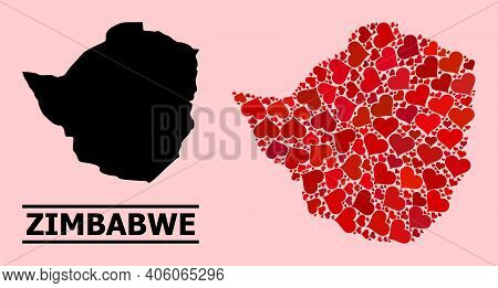 Love Collage And Solid Map Of Zimbabwe On A Pink Background. Collage Map Of Zimbabwe Is Composed Fro