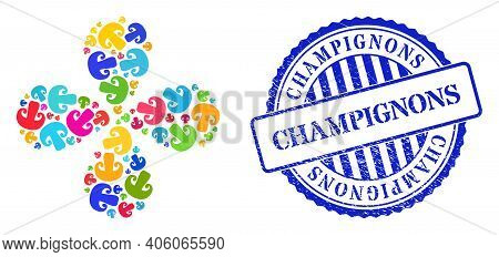 Champignon Mushroom Multicolored Twirl Flower With 4 Petals, And Blue Round Champignons Textured Bad
