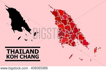Love Pattern And Solid Map Of Koh Chang On A Pink Background. Mosaic Map Of Koh Chang Composed From