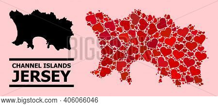 Love Mosaic And Solid Map Of Jersey Island On A Pink Background. Mosaic Map Of Jersey Island Compose