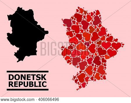Love Mosaic And Solid Map Of Donetsk Republic On A Pink Background. Collage Map Of Donetsk Republic