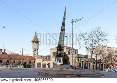 Sabadell - Catalonia, Spain - January 31st Of 2021: Roundabout And Monument Dels Agents Comercials,