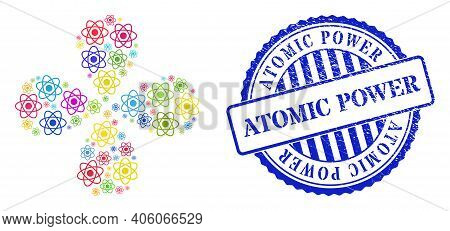 Atom Colored Centrifugal Twist, And Blue Round Atomic Power Scratched Stamp Print. Element Flower Wi