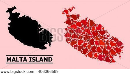 Love Collage And Solid Map Of Malta Island On A Pink Background. Collage Map Of Malta Island Is Comp