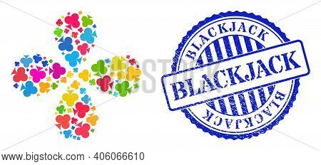 Playing Card Club Suit Colored Explosion Abstract Flower, And Blue Round Blackjack Rough Stamp Imita