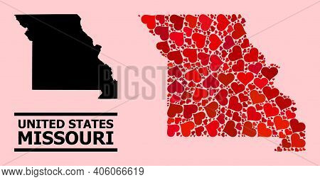 Love Collage And Solid Map Of Missouri State On A Pink Background. Collage Map Of Missouri State Is