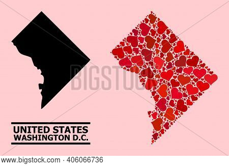 Love Mosaic And Solid Map Of Washington Dc On A Pink Background. Mosaic Map Of Washington Dc Is Desi