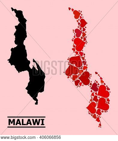 Love Mosaic And Solid Map Of Malawi On A Pink Background. Mosaic Map Of Malawi Composed With Red Lov