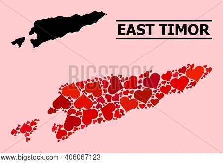 Love Pattern And Solid Map Of East Timor On A Pink Background. Mosaic Map Of East Timor Is Formed Wi