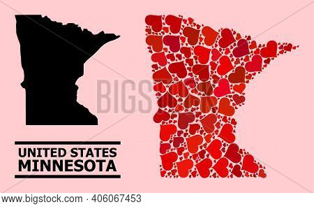 Love Collage And Solid Map Of Minnesota State On A Pink Background. Collage Map Of Minnesota State I