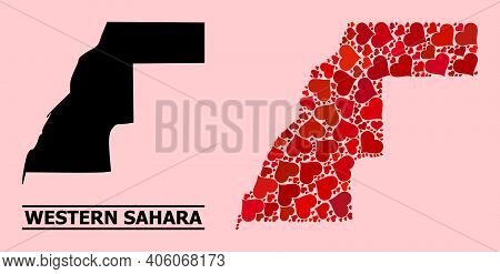 Love Mosaic And Solid Map Of Western Sahara On A Pink Background. Mosaic Map Of Western Sahara Creat
