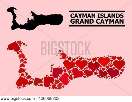 Love Collage And Solid Map Of Grand Cayman Island On A Pink Background. Collage Map Of Grand Cayman