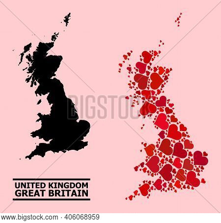 Love Collage And Solid Map Of Great Britain On A Pink Background. Mosaic Map Of Great Britain Create