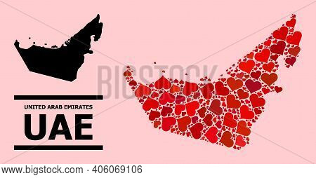 Love Mosaic And Solid Map Of United Arab Emirates On A Pink Background. Collage Map Of United Arab E