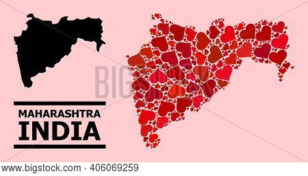 Love Mosaic And Solid Map Of Maharashtra State On A Pink Background. Mosaic Map Of Maharashtra State