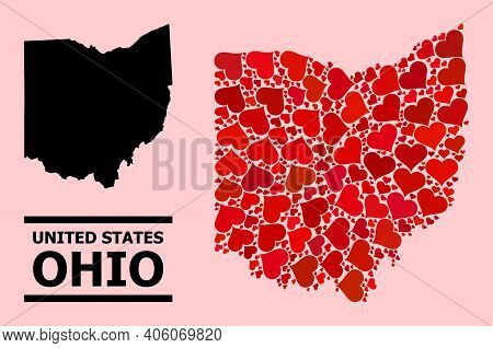 Love Collage And Solid Map Of Ohio State On A Pink Background. Collage Map Of Ohio State Designed Fr