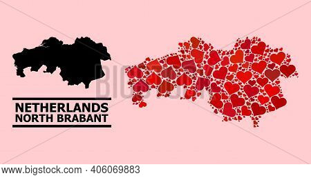 Love Collage And Solid Map Of North Brabant Province On A Pink Background. Collage Map Of North Brab