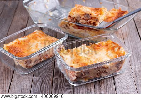 Semi-finished Products. Lasagne Or Casserole In A Container. Ready Meals. Healthy Eating