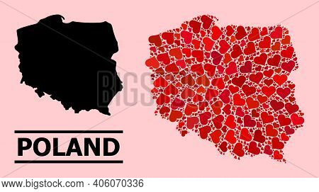 Love Pattern And Solid Map Of Poland On A Pink Background. Collage Map Of Poland Composed With Red L