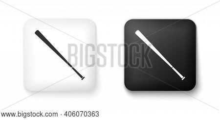 Black And White Baseball Bat Icon Isolated On White Background. Square Button. Vector