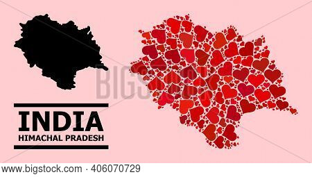 Love Mosaic And Solid Map Of Himachal Pradesh State On A Pink Background. Mosaic Map Of Himachal Pra