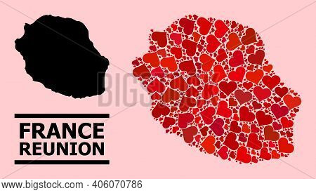 Love Collage And Solid Map Of Reunion Island On A Pink Background. Collage Map Of Reunion Island Com