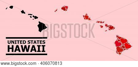 Love Collage And Solid Map Of Hawaii State On A Pink Background. Collage Map Of Hawaii State Compose
