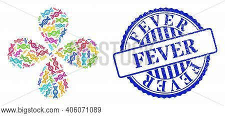 Genome Molecule Bright Swirl Flower With Four Petals, And Blue Round Fever Corroded Watermark. Eleme