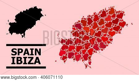 Love Collage And Solid Map Of Ibiza Island On A Pink Background. Collage Map Of Ibiza Island Designe