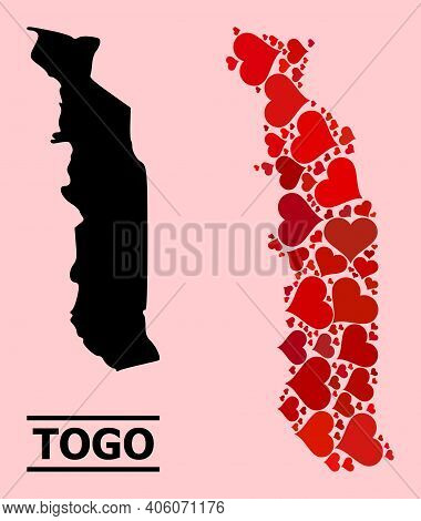 Love Collage And Solid Map Of Togo On A Pink Background. Collage Map Of Togo Is Formed From Red Love