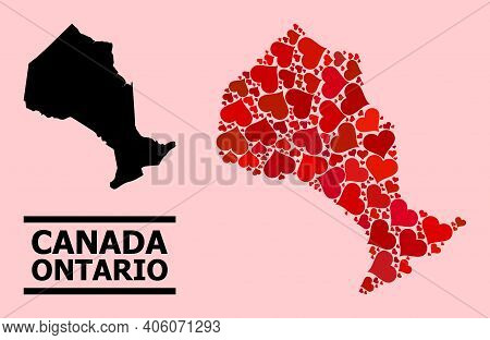 Love Collage And Solid Map Of Ontario Province On A Pink Background. Collage Map Of Ontario Province