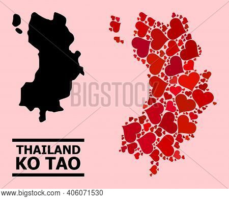 Love Collage And Solid Map Of Ko Tao On A Pink Background. Collage Map Of Ko Tao Created With Red Va