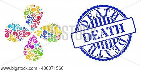 Death Skull Bright Exploding Flower With 4 Petals, And Blue Round Death Dirty Seal. Element Flower W