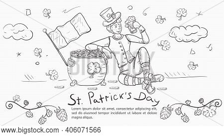 Outline Illustration Banner In The Style Of Childrens Doodle For Decoration Designs, On The Theme Of