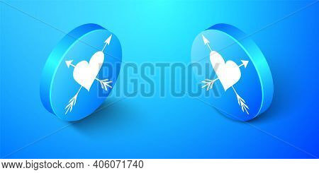 Isometric Heart With Arrow Icon Isolated On Blue Background. Happy Valentines Day. Cupid Dart Pierce