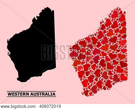 Love Mosaic And Solid Map Of Western Australia On A Pink Background. Mosaic Map Of Western Australia