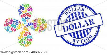 Dollar Colorful Explosion Flower Shape, And Blue Round Dollar Rough Seal. Object Flower With 4 Petal