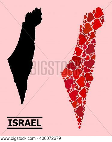 Love Collage And Solid Map Of Israel On A Pink Background. Mosaic Map Of Israel Is Designed With Red
