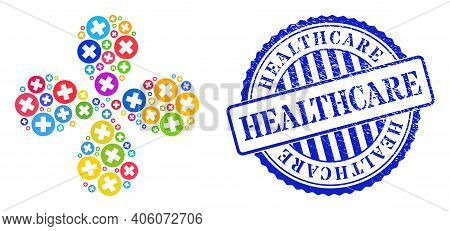 Healthcare Colored Exploding Flower With Four Petals, And Blue Round Healthcare Rubber Stamp. Elemen