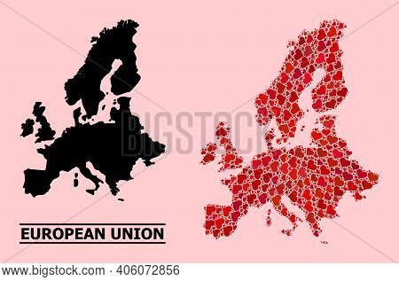 Love Collage And Solid Map Of Euro Union On A Pink Background. Collage Map Of Euro Union Is Created